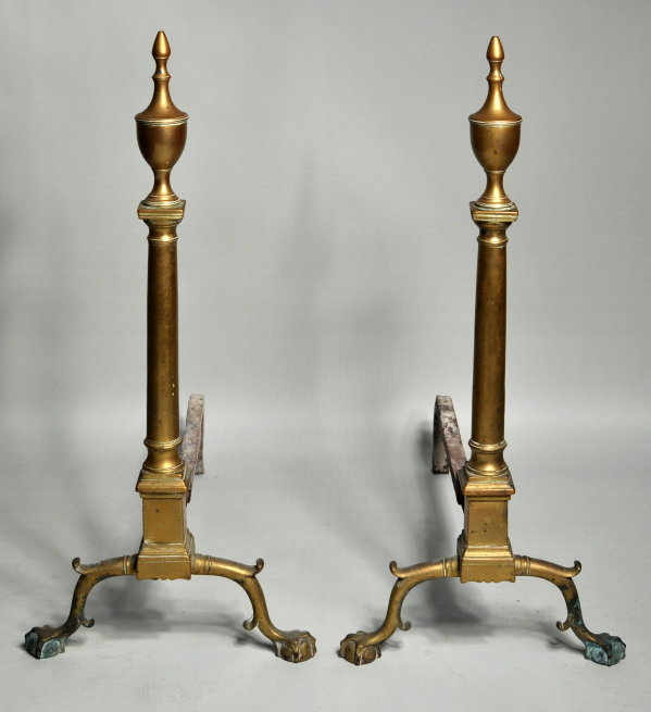 Pair Philadelphia Chippendale Brass Andirons - Inv. #10556
