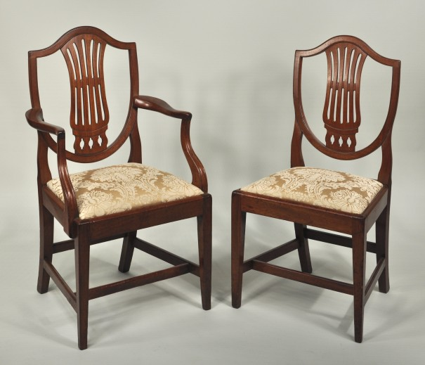 Set 10 Hepplewhite Carved Mahogany Dining Chairs - Inv. #10587