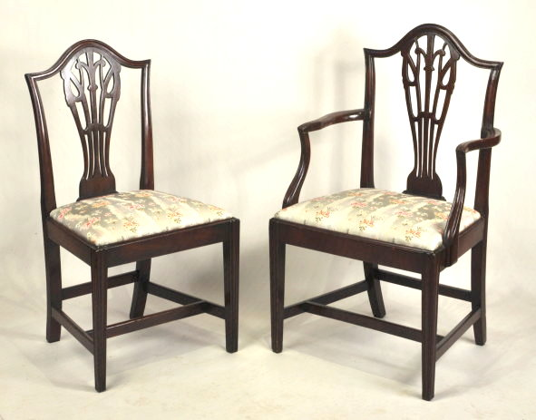 Set Twelve Hepplewhite Carved Mahogany Dining Chairs - Inv. #10670