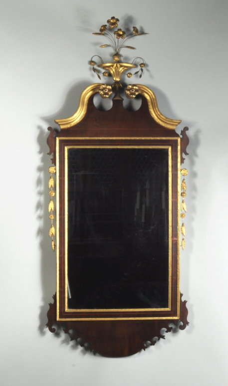 Hepplewhite Inlaid Parcel Gilt Mahogany Mirror - Inv. #10920