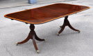Fine Sheraton Style Inlaid Mahogany Two Pillar Dining Table - Inv. #10807
